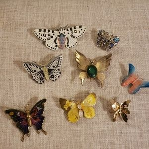 Vintage set butterfly brooches 8 pieces